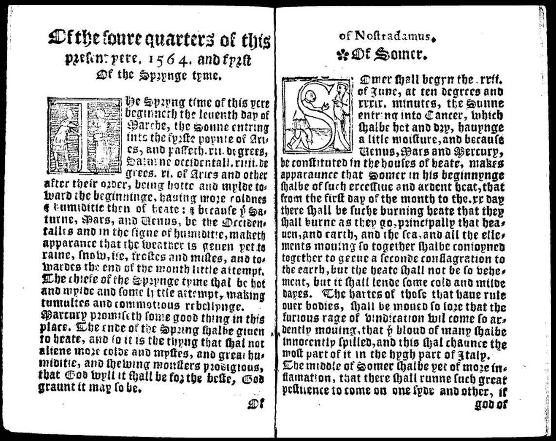 Of the foure quarters of this present yere 1564, a